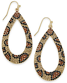 "Thalia Sodi Large 2"" Gold-Tone Leopard Pavé Teardrop Drop Earrings, Created for Macy's"