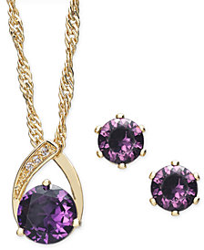 Charter Club Gold-Tone 2-Piece Set Stone & Crystal Pendant Necklace & Stud Earrings, Created for Macy's