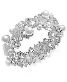 Charter Club Silver-Tone Imitation Pearl Starfish Stretch Bracelet, Created for Macy's