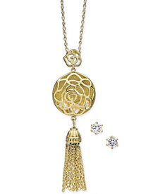 "Charter Club Gold-Tone Crystal Openwork Circle and Chain Tassel Pendant Necklace & Stud Earrings Set, 15"" + 3"" extender, Created for Macy's"