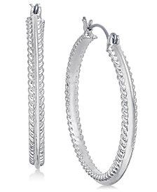 Charter Club Silver-Tone Rope-Edge Hoop Earrings, Created for Macy's