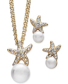 Charter Club Gold-Tone 2-Pc. Set Imitation Pearl & Pavé Starfish Pendant Necklace & Matching Stud Earrings, Created for Macy's