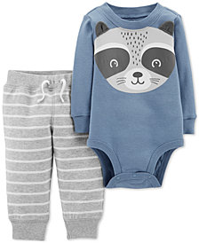 Carter's Baby Boys 2-Pc. Cotton Racoon Bodysuit & Striped Jogger Pants Set