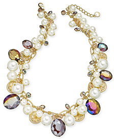 "Charter Club Gold-Tone Coin, Bead & Imitation Pearl Collar Necklace, 17"" + 2"" extender, Created for Macy's"