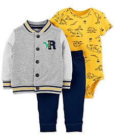 Carter's Baby Boys 3-Pc. Cotton Dinosaur Jacket, Bodysuit & Pants Set