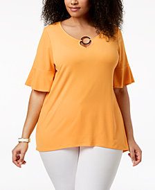 NY Collection Plus Size Keyhole Bell-Sleeve Tunic
