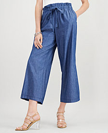 John Paul Richard Petite Chambray Palazzo Pants