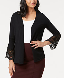 Alfani Petite Lace-Trim Cardigan, Created for Macy's
