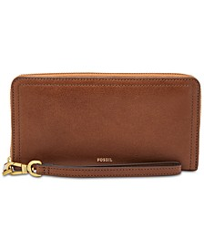 Logan Leather RFID Zip Around Wallet Wristlet