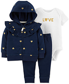 Carter's Baby Girls 3-Pc. Cotton Heart-Print Hoodie, Bodysuit & Pants Set