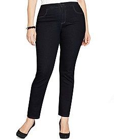 Plus & Petite Plus Easy-Fit Tummy-Control Straight-Leg Jeans, Cr