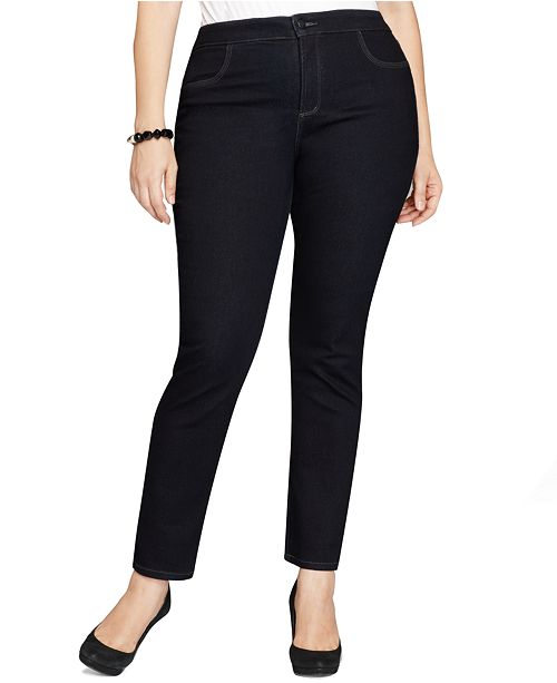 3709cc5cdb1 Style   Co Plus   Petite Plus Size Tummy-Control Straight-Leg Jeans ...