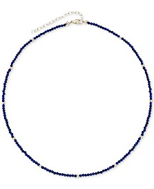 "Lapis Lazuli (2mm) & Gold Bead Choker Necklace in 14k Gold, 14"" + 2"" extender (Also in Black Spinel)"