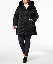 T Tahari Plus Size Faux-Fur-Trim Puffer Coat