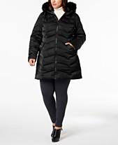 8eab48de370 T Tahari Plus Size Faux-Fur-Trim Puffer Coat