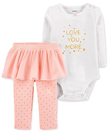 Carter's Baby Girls 2-Pc. Love You More Cotton Bodysuit & Tutu Leggings Set