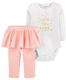 Carter's Baby Girls 2-Pc. Love You More Cotton Bodysuit & Tutu Leggings Set
