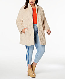 Kenneth Cole Plus Size Faux-Fur Teddy Teddy Coat