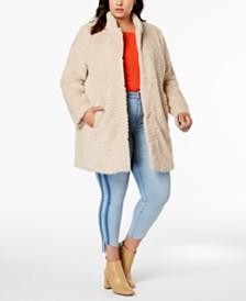 Kenneth Cole Plus Size Faux-Fur Coat