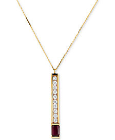 "Ruby (3/4 ct. t.w.) & Diamond (3/8 ct. t.w.) Linear 16"" Pendant Necklace in 14k Gold"