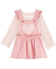 First Impressions Baby Girls 2-Pc. T-Shirt & Heart Jumper Set, Created for Macy's