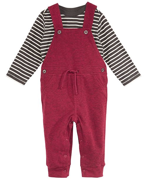 4b04ce356 ... First Impressions Baby Boys 2-Pc. Striped T-Shirt & Marled Overalls Set  ...