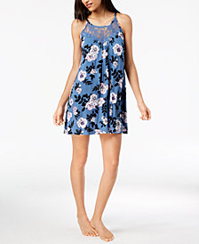 I.N.C. Lace-Neck Rose-Print Chemise, Created for Macy's
