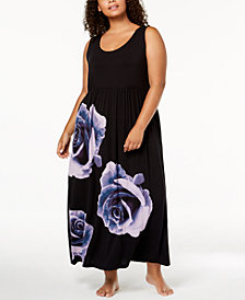 I.N.C. Plus Size Rose-Graphic Nightgown, Created for Macy's