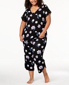 I.N.C. Plus Size Lace-Trim V-Back Pajama Set, Created for Macy's