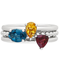 3-Pc. Set Multi-Gemstone Stacking Rings (1-3/4 ct. t.w.) in Sterling Silver