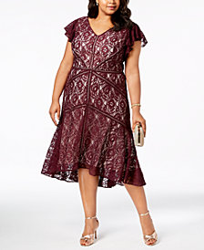 Taylor Plus Size Lace Fit & Flare Dress