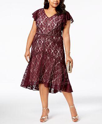 Taylor Plus Size Lace Fit Flare Dress Dresses Women Macy S