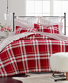 Martha Stewart Collection Winter Plaid Cotton Flannel King Duvet Cover, Created for Macy's