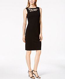 Calvin Klein Rhinestone-Embellished Sheath Dress, Regular & Petite