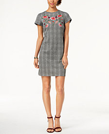 Nine West Floral-Embroidered Houndstooth Dress