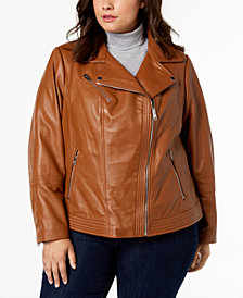MICHAEL Michael Kors Plus Size Leather Moto Jacket