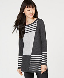 Charter Club Striped Pure Cashmere Sweater, Created for Macy's