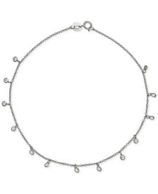 Giani Bernini Cubic Zirconia Dangle Ankle Bracelet in Sterling Silver, Created for Macy's