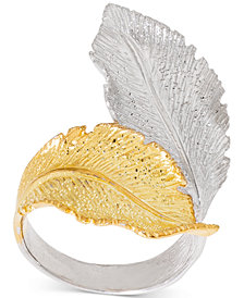Giani Bernini Two-Tone Leaf Wrap Ring in Sterling Silver & 18k Gold-Plate, Created for Macy's