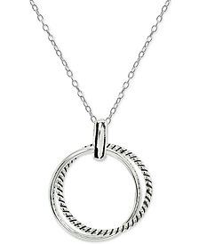 "Giani Bernini Double Circle Pendant Necklace in Sterling Silver, 16"" + 2"" extender, Created for Macy's"