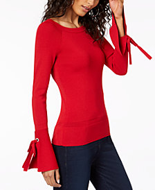 I.N.C. Boat-Neck Tie-Sleeve Top, Created for Macy's