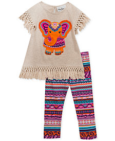 Rare Editions Baby Girls 2-Pc. Fringed Elephant Tunic & Leggings Set