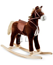 "Trademark Global Happy Trails Plush Rocking Horse, 32"" x 35.25"" x 11.875"""