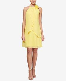 SL Fashions Floral-Appliqué Shift Dress