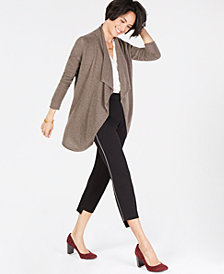 Charter Club Cashmere Open-Front Draped Cardigan, Created for Macy's
