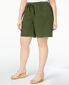 Karen Scott Plus Size Drawstring Cotton Shorts, Created for Macy's