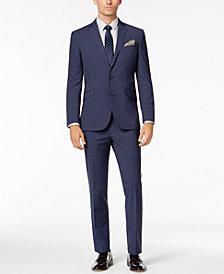 Kenneth Cole Reaction Men's Slim-Fit Techni-Cole Stretch Denim Blue Plaid Suit