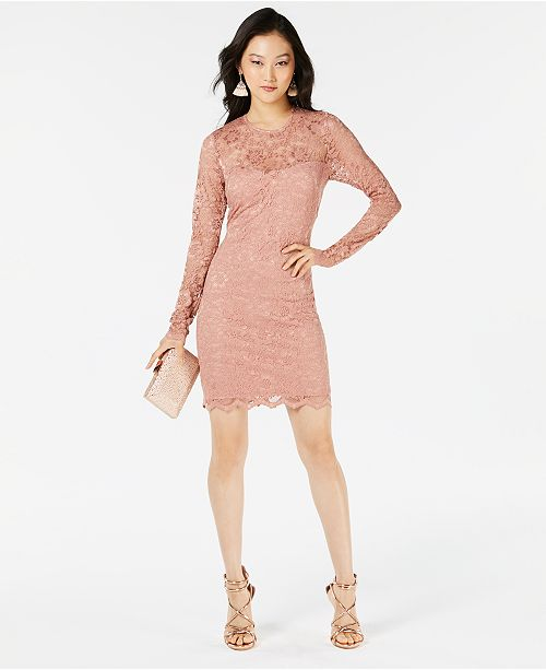 Long Juniors' Blush Sleeve Speechless Lace Dress 8RvSwx