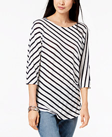 I.N.C. Petite 3/4-Sleeve Striped T-Shirt, Created for Macy's