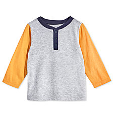 First Impressions Baby Boys Colorblocked Henley T-Shirt, Created for Macy's